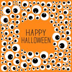 Eyes frame Halloween card. Spooky orange background Flat design.