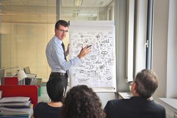 Manager explaining businessplans