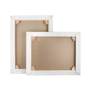 Gallery wrapped blank canvas on wooden frame - stretcher bar fra