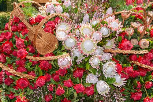 Fototapete Festive flowers decoration at the Madeira Flower Festival. Madeira Islands, Portugal.