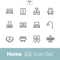 Home stuff outline icon set of 12 thin modern stylish icons. Part 2 - bedroom. EPS 10.