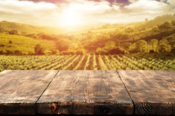 Papiers peints Vignoble desk space and vineyard