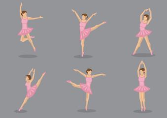 Pink Tutu Ballerina Vector Icon Set