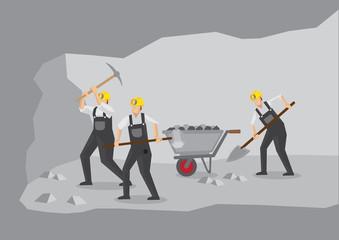 Coal Miners Working in Underground Mine Vector Illustration