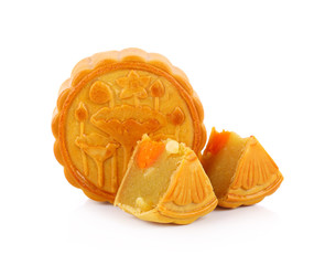 Durian Mhonthong Mooncake With Egg isolated on white background