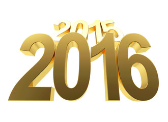 2016 New Year concept. 2015 changed to 2016 on white background