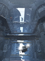 Science fiction illustration of the view through the tower blocks of a futuristic sci-fi city in winter snow, 3d digitally rendered illustration