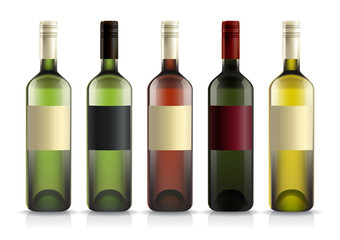 Set of wine bottles with labels