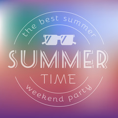 Summer Time Party Text Card Vector Illustration.