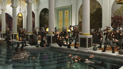 Toon Viking Dwarf Horde partying in a Roman bath house, 3d digitally rendered illustration