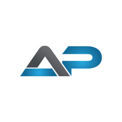 AP company linked letter logo blue