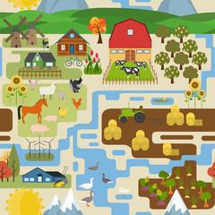 Great city map creator.Seamless pattern map. Village, farm, coun