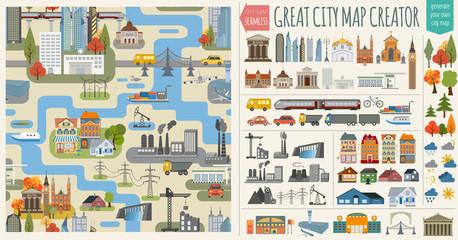 Основные RGBGreat city map creator.Seamless pattern map