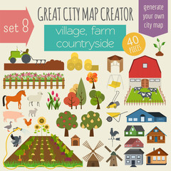 Wall Murals Doodle Great city map creator. House constructor. House, cafe, restaura