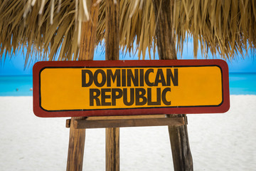 Dominican Republic sign with beach background