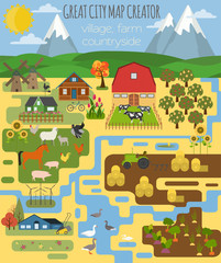 Great city map creator. Village, farm, countryside, agriculture.