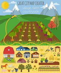 Keuken foto achterwand Magische wereld Great city map creator. Village, farm, countryside, agriculture.