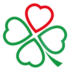 Cloverleaf made of one red heart and three green hearts. Illustration over white background.