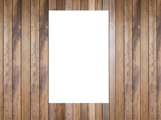 Blank Poster Template mock up on wooden wall