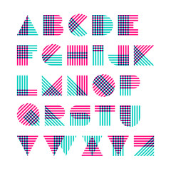 Geometric shapes alphabet made of crossed lines