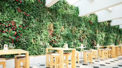 Wall Mural - bistro vor vertikalem garten - bistro in front of a vertical garden