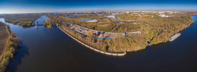 Aerial panoramic view of Moskva river