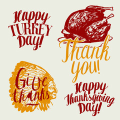 thanksgiving day calligraphy label. vector set