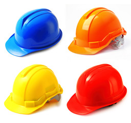 Set of safety helmet on white hard hat isolated.