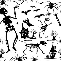 Pattern, black and white, silhouette, skeleton, bat, chicken skeleton, spider, skeleton cat