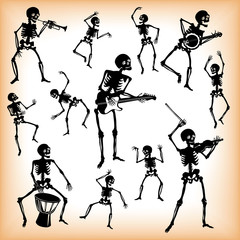 Pattern, black and white, silhouette, skeleton, a party of skeletons,