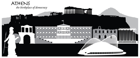 Vector illustration of the city of Athens, Greece