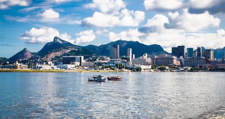 Panoramic view from sea on Rio de Janeiro, Brazil. Wall mural