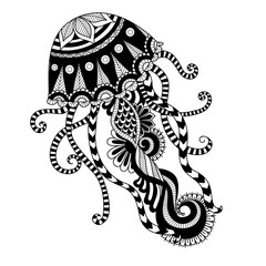 Hand drawn jellyfish zentangle style for coloring book, shirt design or tattoo