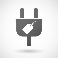 Isolated plug icon with a label