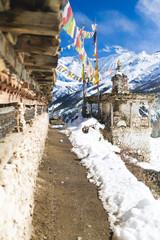 Photo sur Aluminium Népal Prayer wheels in high Himalaya Mountains, Nepal village