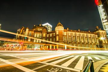 Traffic light in front of Public Tokyo train station. Night view of Public place, Tokyo Train Station.