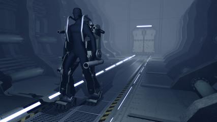 Futuristic mech walking through a sci-fi hangar