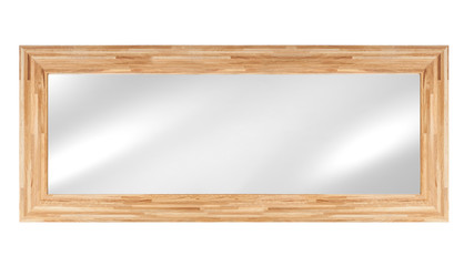 Mirror in wooden frame - isolated on white