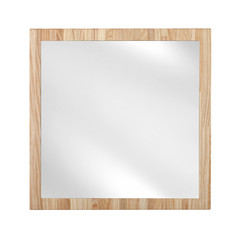Mirror in wooden oak frame - isolated on white