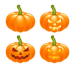 Halloween pumpkin vector set illustration, Jack O Lantern isolated on white background. Scary orange picture with eyes and candle light inside.