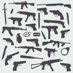 Guns Vector Silhouette