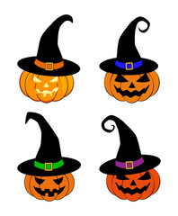 Halloween pumpkin in witches hat vector set illustration, Jack O Lantern isolated on white background. Scary orange picture with eyes.
