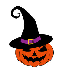 Halloween pumpkin in witches hat vector illustration, Jack O Lantern isolated on white background. Scary orange picture with eyes.