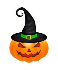 Halloween pumpkin in hat vector illustration, Jack O Lantern isolated on white background. Scary orange picture with eyes and candle light inside.