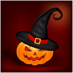Halloween pumpkin in hat vector illustration, Jack O Lantern on gradient mesh background. Scary orange picture with eyes and candle light inside.