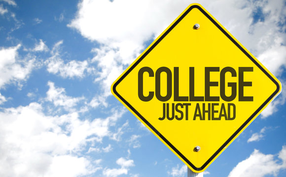 College Just Ahead sign with sky background