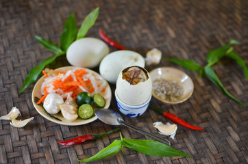 Balut, boiled developing duck embryo
