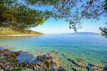 Cres Island, Croatia: View from the beach promenade to the sea near village Valun