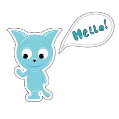 Blue funny cartoon kitten says Hello