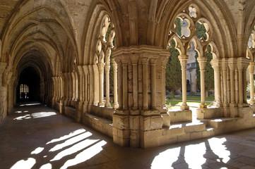 Cloister,Monastery , Poblet ,Tarragona, Catalonia, Spain,